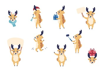 vector cute christmas reindeer set. Funny winter characters holding blank paper rholding present box, making selfie having fun dancing, playing flute. Merry christmas, xmas holiday design illustration