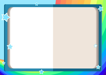 children's frame with an open book, rainbow, sky and stars in cartoon style (background for children's announcements, photos, diploma, certificate, coupon)