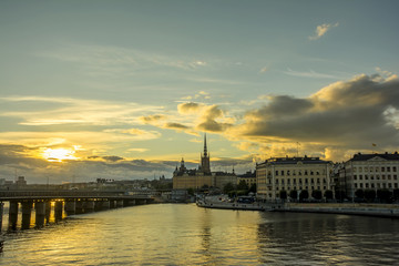 Wall Mural - View of Stockholm city in sunset time, Sweden.