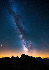 Mliky way over the Alps Mountain, Dolomites, Italy