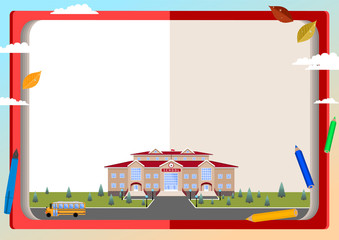 Announcement (poster, congratulation, invitation, postcard, photos, diploma, certificate, coupon)on the background of books, school building, school bus, autumn leaves