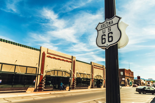 Street or road sign historic route or highway 66 in Williams, Arizona, USA. Copy space.