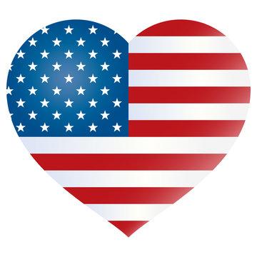 USA flag heart shape - United States flag silhouette