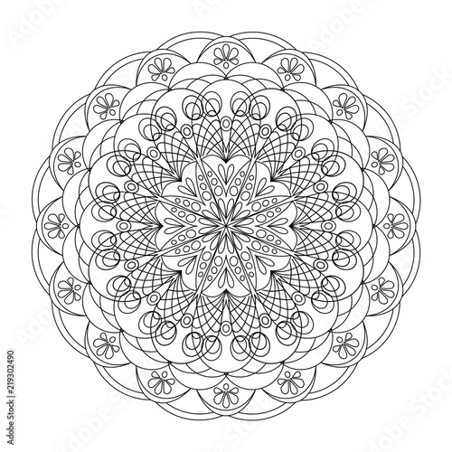 Mandala Coloring Book Page Art Therapy Vintage Decorative Elements Oriental Pattern