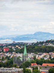 City scape of Trondheim, Norway with Mountains
