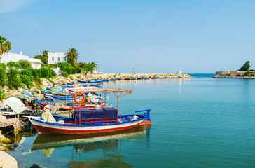 The moored boats in Carthage port, Tunisia