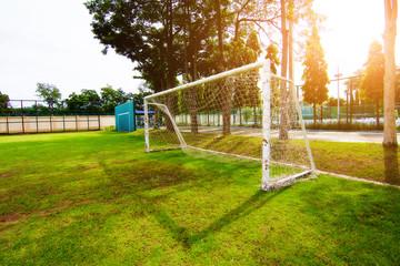 soccer field grass Goal at the stadium Soccer field,football net
