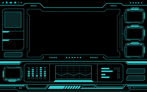 Blue control panel abstract Technology Interface hud on black background vector design.