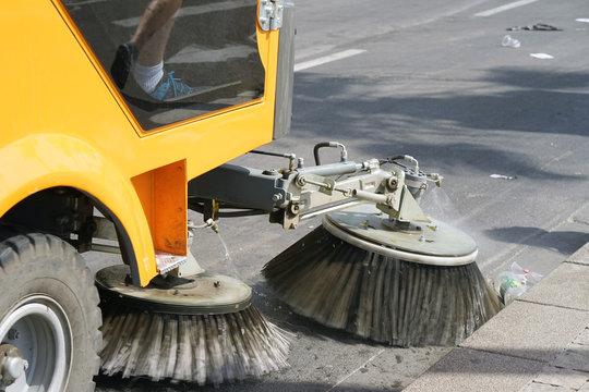 Street cleaning machine. Street sweeper machine working