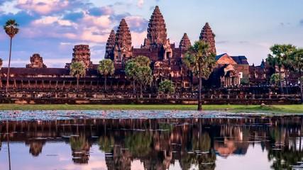 Fototapete - Timelapse of Cambodia landmark Angkor Wat