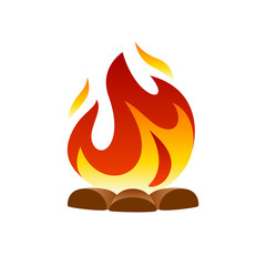 Camp fire icon on white background