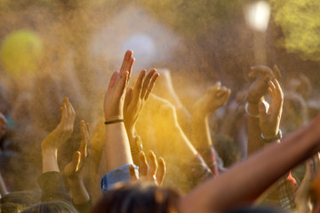 Hands raised up in the air at the musical concert at the color festival