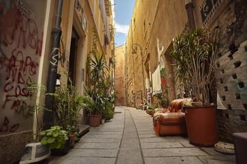 The colorful alley of Cagliari.