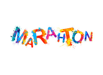 Marathon. Word of splash paint letters