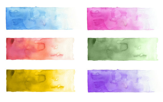 Collection of watercolor brush strokes. Isolated on white.