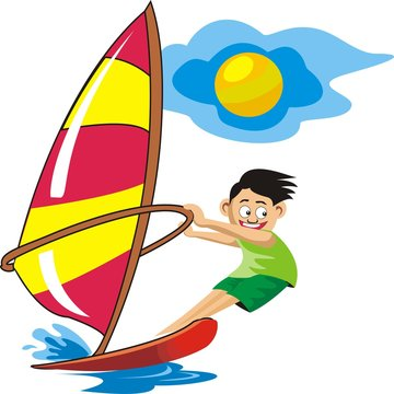 Child windsurfing with sun vector illustration