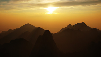 View on Huangshan mountains (Yellow mountains) silhouette during sunrise