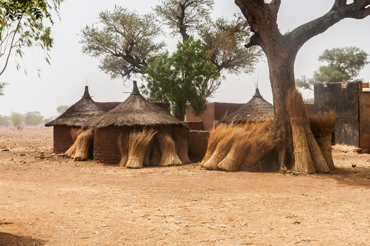 Traditional huts in an african mosi village in Burkina Faso, West Africa