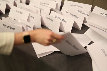Name cards are arranged at the DNC Summer Meeting in Chicago
