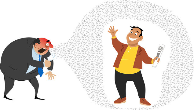 Man with strong immune system or who received vaccination is protected from germs, spreading by a sick person, EPS 8 vector illustration