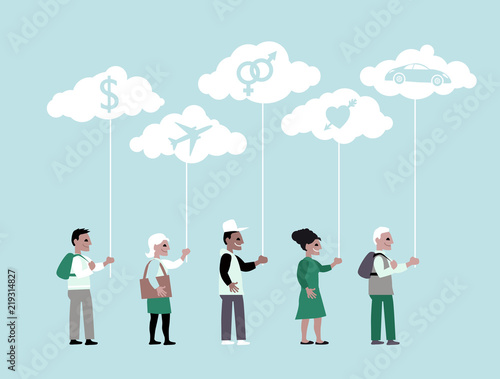 People Holding Clouds With Symbols For Different Types Of