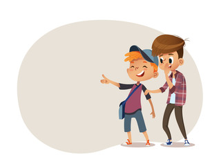 School boys and aughing and pointing at something. Bulling at school. Vector illustration