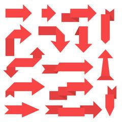 Red paper arrows. 3d sticker labels