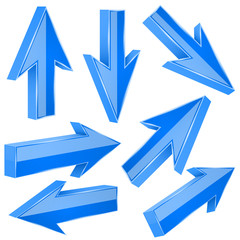 Blue 3d arrows. Set of shiny straight signs