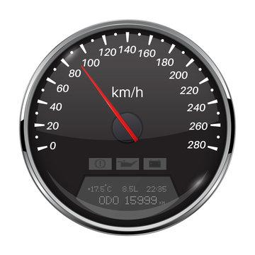 Speedometer. Black speed gauge with metal frame. 90 km per hour