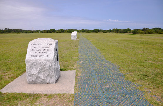 First Successful Flight of an Airplane Spot at Wright Brothers National Memorial, Kill Devil Hills, North Carolina, USA.