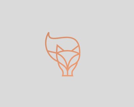 Linear fox logo design. Animal wildlife vector logotype.
