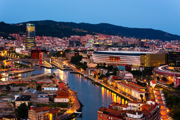 City of Bilbao at night, Basque Country, Spain