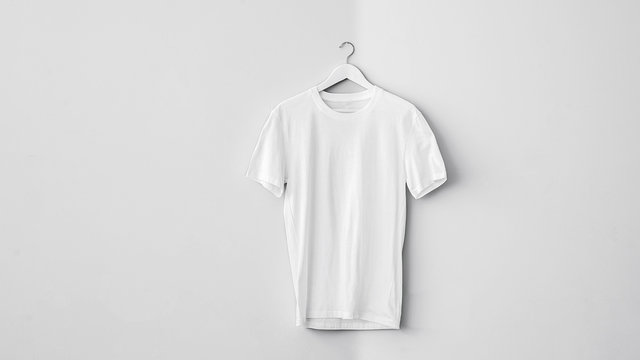 White cotton t-shirt on hanger