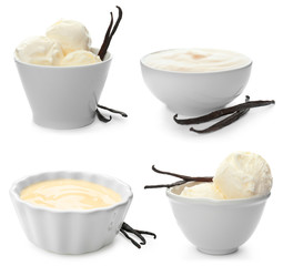 Set with vanilla pods, ice cream and puddings on white background