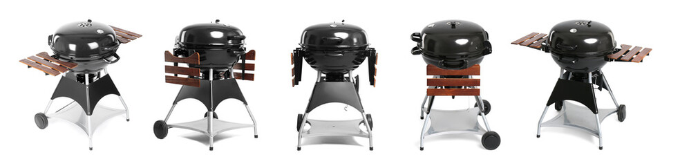 Set with modern barbecue grill on white background
