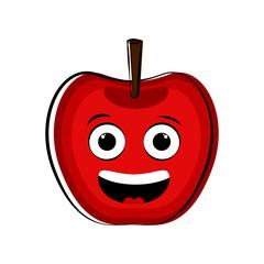 Happy apple cartoon character emote