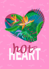 Tropical leaves and flowers in shape of a heart. love concept for Valentines Day, Mothers Day or special romantic occasion.