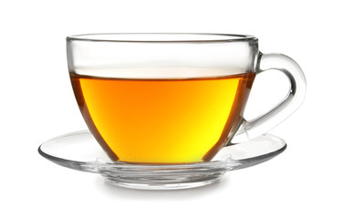Glass cup with black tea on white background