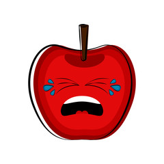 Crying apple cartoon character emote