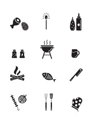 Barbeque and grill icons collection