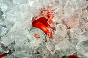 Drink can in ice