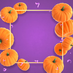 Happy Halloween celebration background with Orange Pumpkins and confetti. 3d illustration for holiday greeting card, invitation, calendar poster. Party banner with air balloons and serpentine.