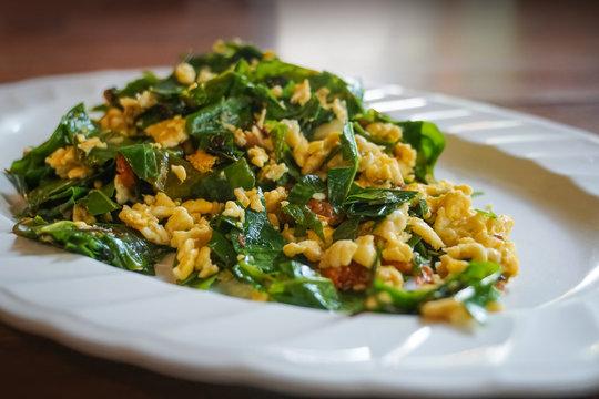 stir-fried baegu leaves with eggs thai healthy dish