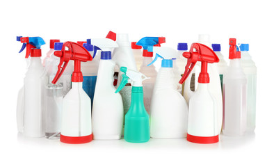 Different bottles with detergents on white background. Cleaning service