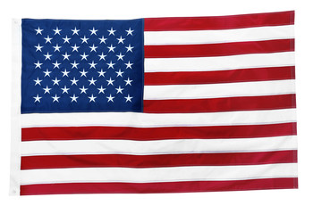 American flag on white background, top view