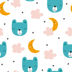 Childish seamless pattern with bear, clouds and moon. Cute bedtime print for fabric. Vector hand drawn illustration.