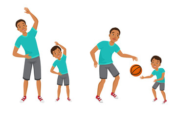 Young man and boy in sport clothes enjoying body training. Father and son playing basketball, morning exercises. Vector illustration can be used for family, keeping fit, healthy lifestyle