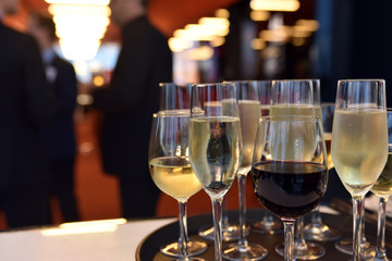 Wine Glasses Being Served at an Event