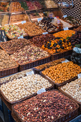 Assorted nuts in a market, Barcelona