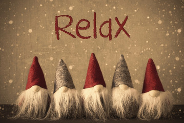 Gnomes, Snowflakes, Text Relax, Grungy Cement Wall